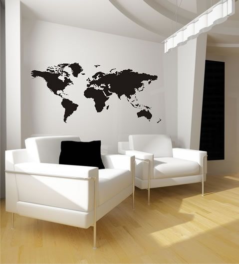 Größe: 180cm x 84 cm (BxH)    Dieses Wandtattoo als Weltkarte verschönert jede leere Wand,  ideal um Räume aufzupeppen. Sie können mit Ihren eigenen B