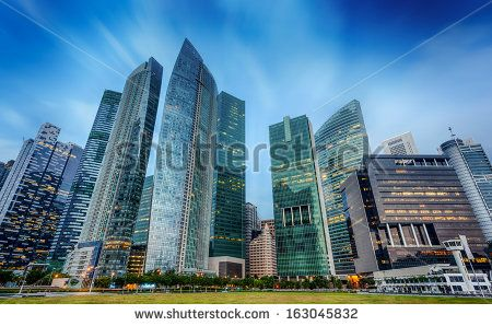 Landscape of the Singapore financial district and business building - stock photo