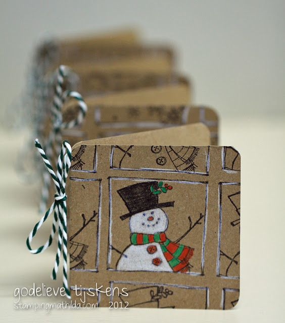 """I made a set of 3"""" mini cards. Kraft cardstock, Hero Arts stamps, and simple coloring with pencils. Hero Arts stamps: LL136 Framed Winter Holidays. I repeated the stamp on the edges, but colored only the main image. (Stamping Mathilda Blog) StampingMathilda: Golden Oldies - 44"""