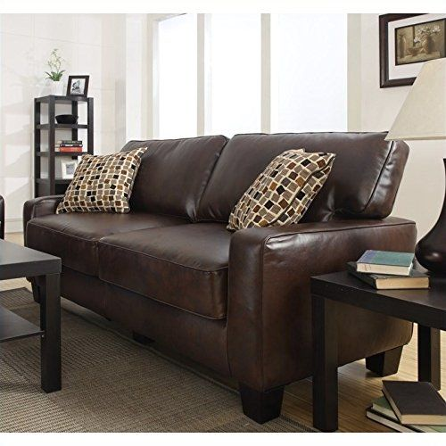 Serta Bonded Leather Convertible Sofa Baxter Chester Moon Dimensions Monaco In Biscuit Brown Couches Cleaner