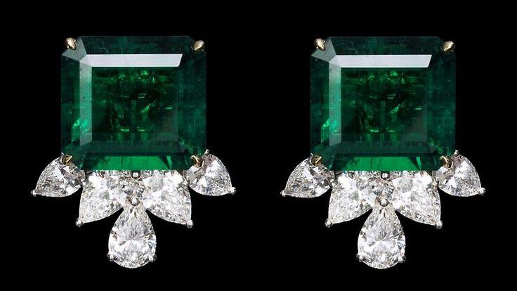 Emerald and Diamond vintage style earrings
