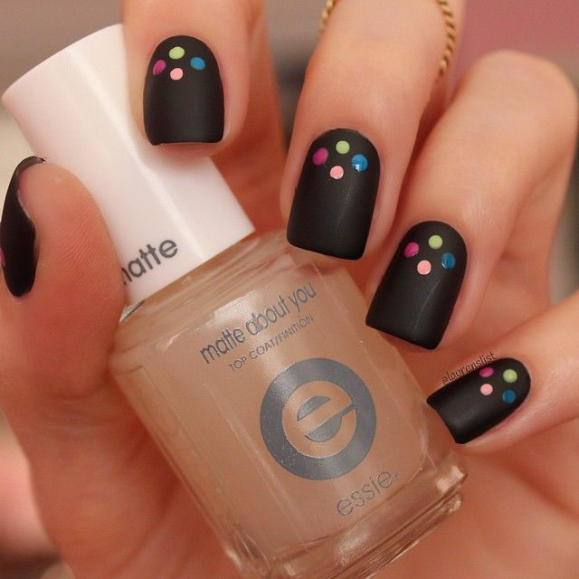 For a festive dotticure nail art, mix essie's black 'licorice' nail polish with our new essie neon 2015 collection. Try our 'matte about you' top coat to instantly transform your manicure from high gloss to sophisticated matte.