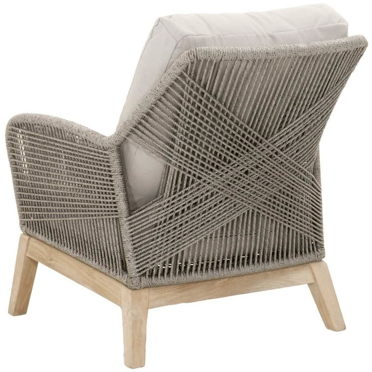 Transitional style outdoor club chair featuring removable all-weather fabric seat and intricate rope weave design.