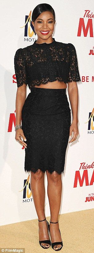 Back in black: Gabrielle Union (left) looked lovely in lace while Mary J. Blige highlighted her curves in a form-fitted pencil dress