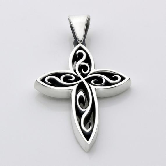 Sterling Silver Swirl Christian Cross Necklace Pendant Sterling
