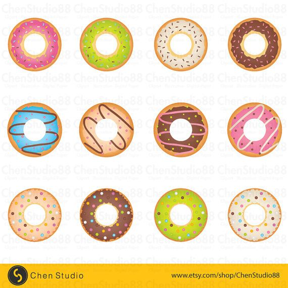 Donut Vector Digital Clipart Instant Download Eps Pdf And Png Files Included Digital Clip Art Clip Art Donut Vector