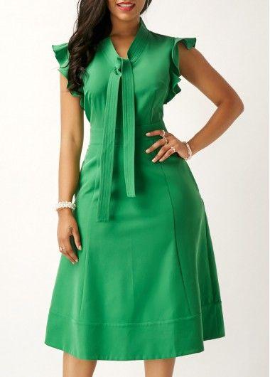 Green High Waist Tie Neck Pocket Dress.