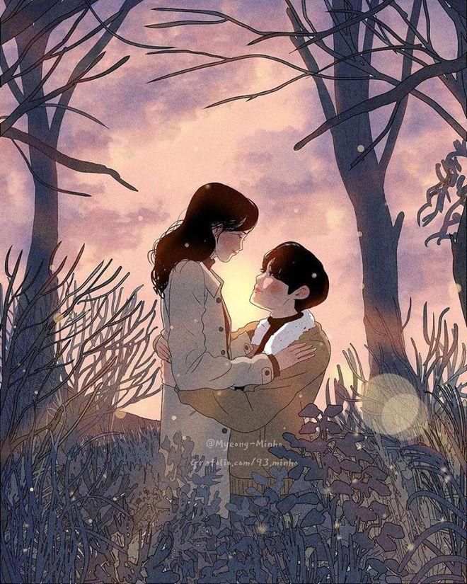 """Bộ tranh Hàn Quốc khiến ai cũng muốn có một người để cùng """"yêu nhau, yêu  nhau bình yên thôi"""""""