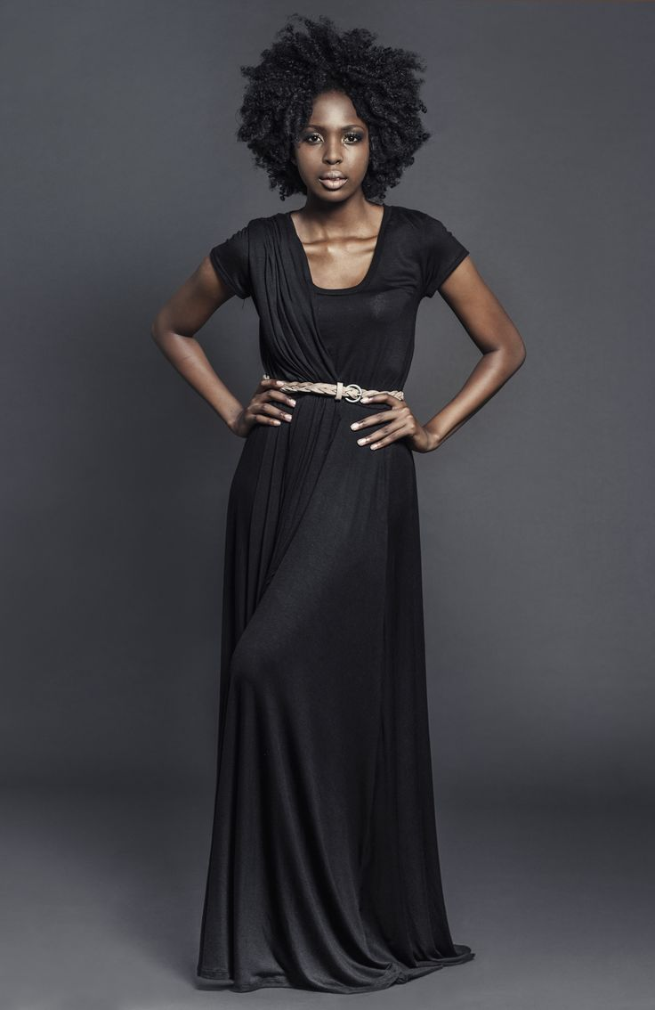 Ladies viscose knit draped maxi length dress Black. For more information visit: https://www.facebook.com/pengellyclothing or https://www.pengelly.co.za
