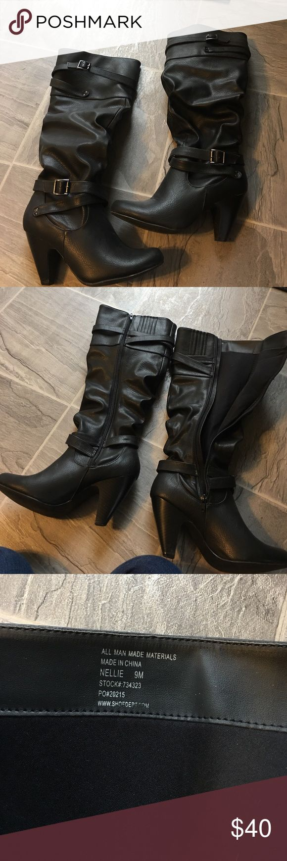 Women's black heeled boots Women's size 9 black zip up heeled boots. Perfect condition worn once. Cheaper on merc Shoes Heeled Boots
