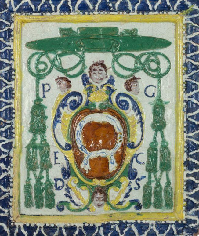 Kafel z herbem Nałęcz biskupa Piotra Gembickiego, Muzeum Narodowe w Krakowie