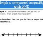 """This Power Point provides four examples that orgainze compound inequalities by """"AND"""" or """"OR"""". Students will learn how to write a compound inequality from a sentence (examples 1 & 3) and solve compound inequalities (examples 2 & 4). All four examples also ask students to graph the compound inequality on the number line."""