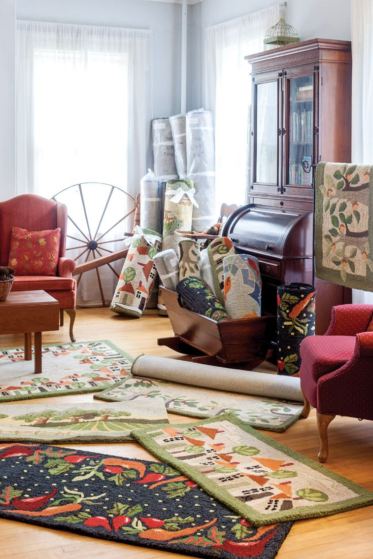Original fabric works fill this multimedia artist Judith Reilly's Vermont gallery, along with art prints, note cards, and hand-hooked wool rugs produced from her designs.