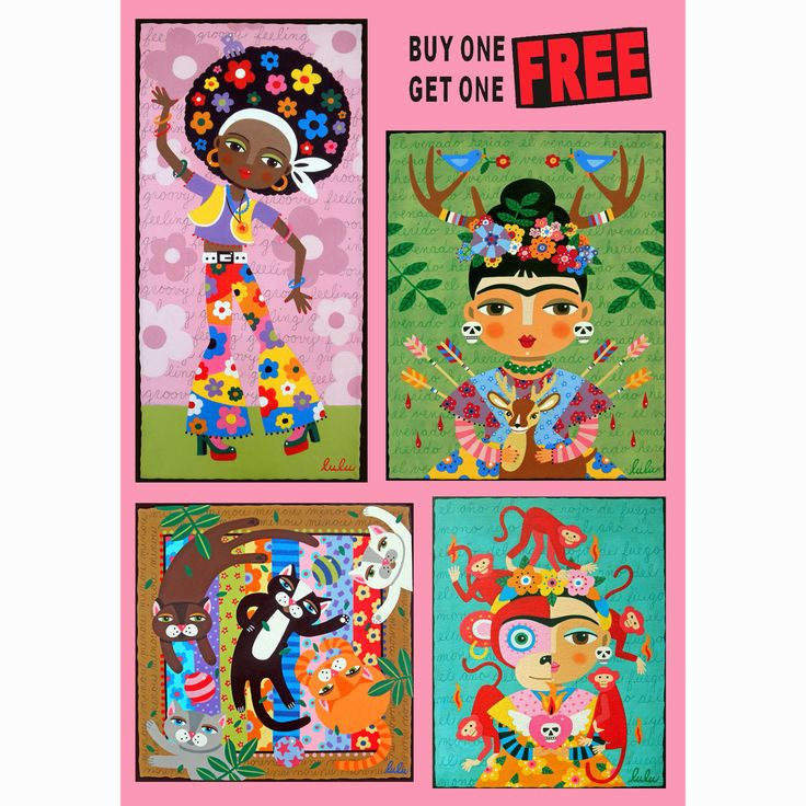 SPECIAL !  BUY one PRINT and get one FREE ! Frida Kahlo, dogs, cats, birds, fairies and angels by  LuLu Mypinkturtle ! Please use COUPON code BUY1GET1FREE  upon checking out ! https://mypinkturtleshop.etsy.com/