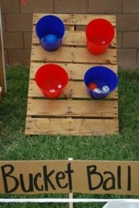 Outdoor party game bucket ball - Could make them worth different points, like skeeball