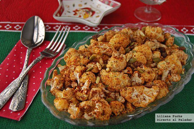 Coliflor asada al pimentón con frutos secos. Receta de Navidad - Directo Al Paladar