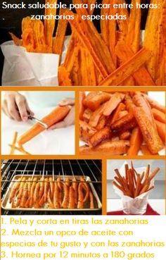 ZANAHORIAS ESPECIADAS AL HORNO -  En la foto, la receta ... yo utilizaría como especias un poco de canela, comino y cardamomo ... creo que es una buena combinación !!!