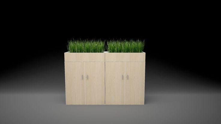 Good office storage design ideas: Planter Box 3Store++ with wood veneer finish.