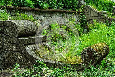 Stone architectural detail in old garden.