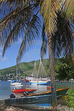 Boats moored in Admiralty Bay, Bequia, an island close to St. Vincent and the Grenadines in the Caribbean.