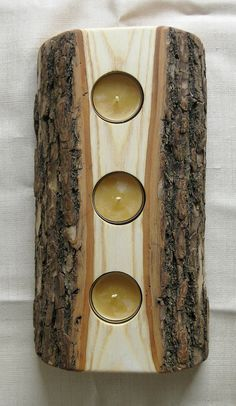 Wood log votive holder