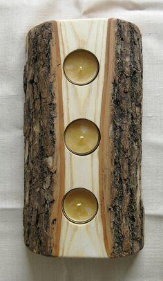 Wood log votive holder