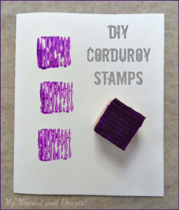 DIY Corduroy Stamps. My Nearest and Dearest blog. These are an easy upcycle for kids crafts, scrapbooking or cardmaking.