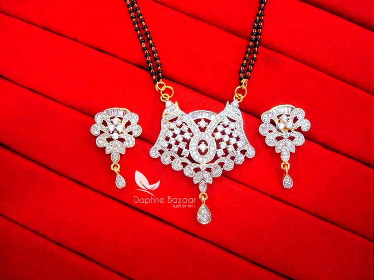 S76, Daphne Silver Art Zircon Mangalsutra set with Earrings for Women Gift for Wife Imitation Jewelry shop online from delhi India. BEST PRICE