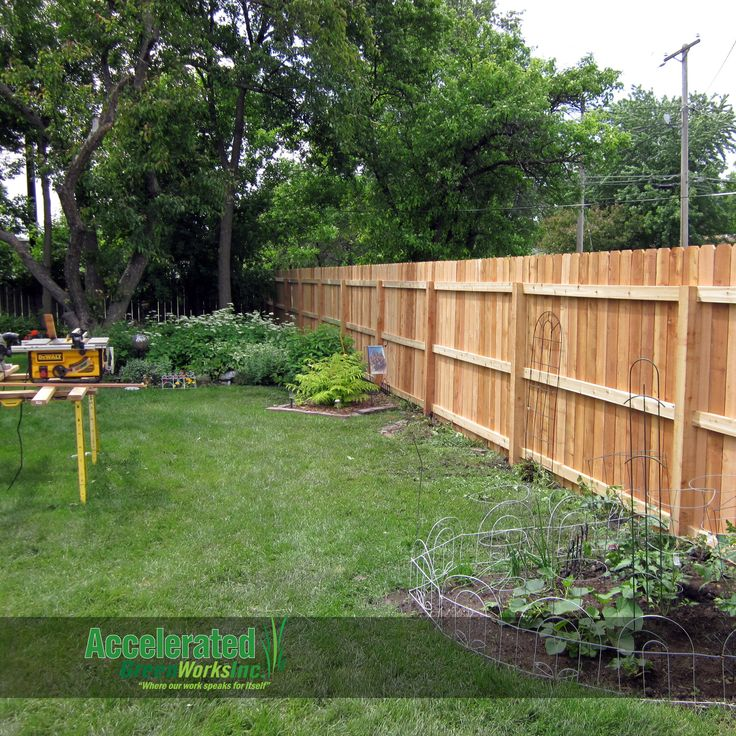 "6'-0"" single-sided cedar privacy fence with dog-eared pickets.  A third horizontal rail is added in between the upper and lower for additional support in an area with potential for high wind.  Cedar fencing should be allowed to season (approximately 1 to 2 years) and then sealed every three years for optimum upkeep."
