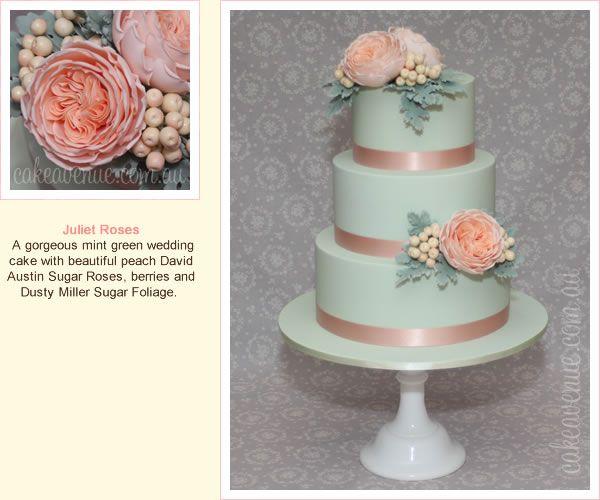 green and peach wedding cake with david austin sugar roses gumpaste david austin roses. Black Bedroom Furniture Sets. Home Design Ideas