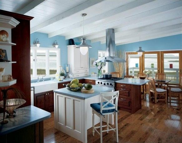 blue/white kitchen w/ wood floors