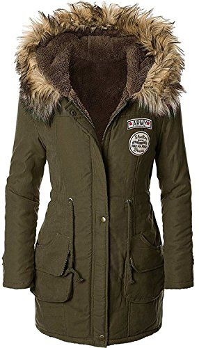 Sugar Pocket Womens Winter Faux Fur Parkas Lined Hooded Coats L Army Green * To view further for this item, visit the image link. (Note:Amazon affiliate link)
