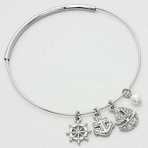 Crystal Pearl Sea Life Adjustable Bangle Bracelet 227072