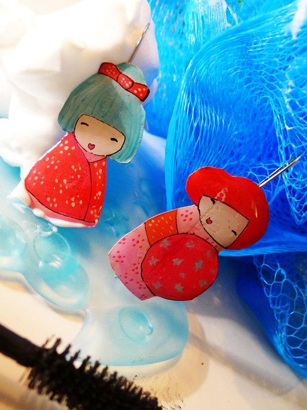 Colorful geishas - earrings