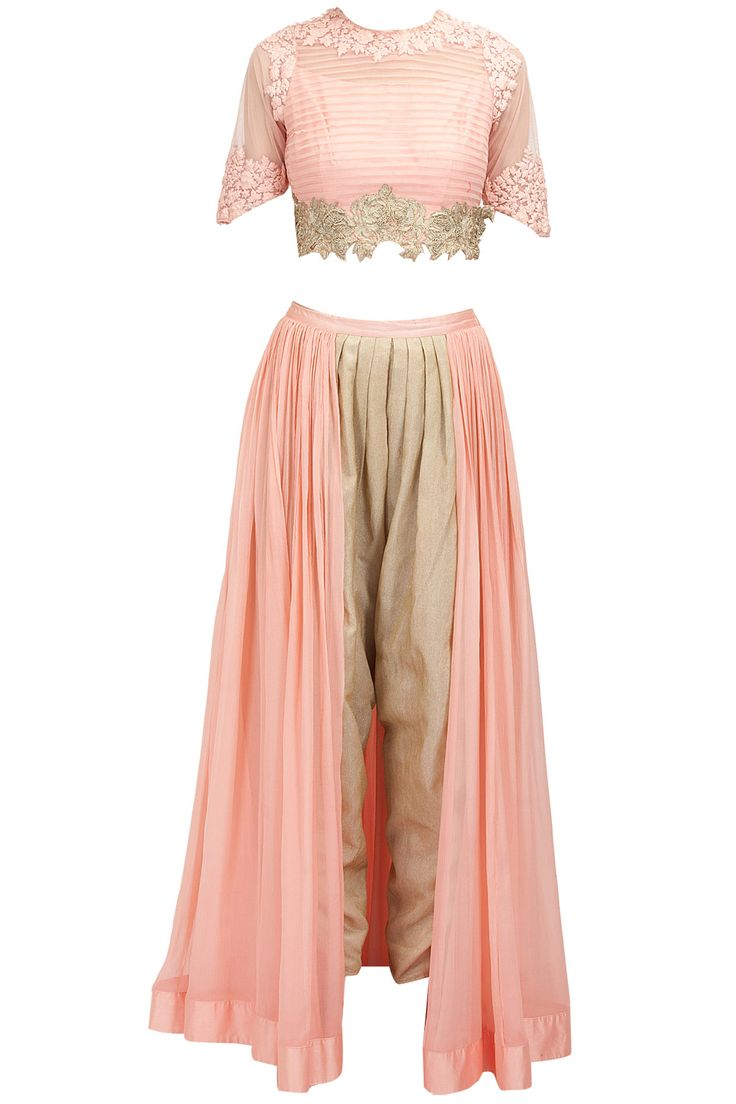 Pink textured top with panelled dhoti pants available only at Pernia's Pop-Up Shop.
