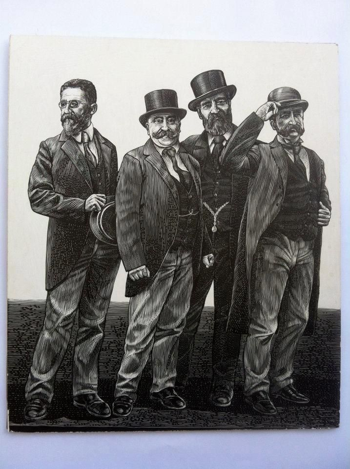 another image reproduced in an etching style for a mural