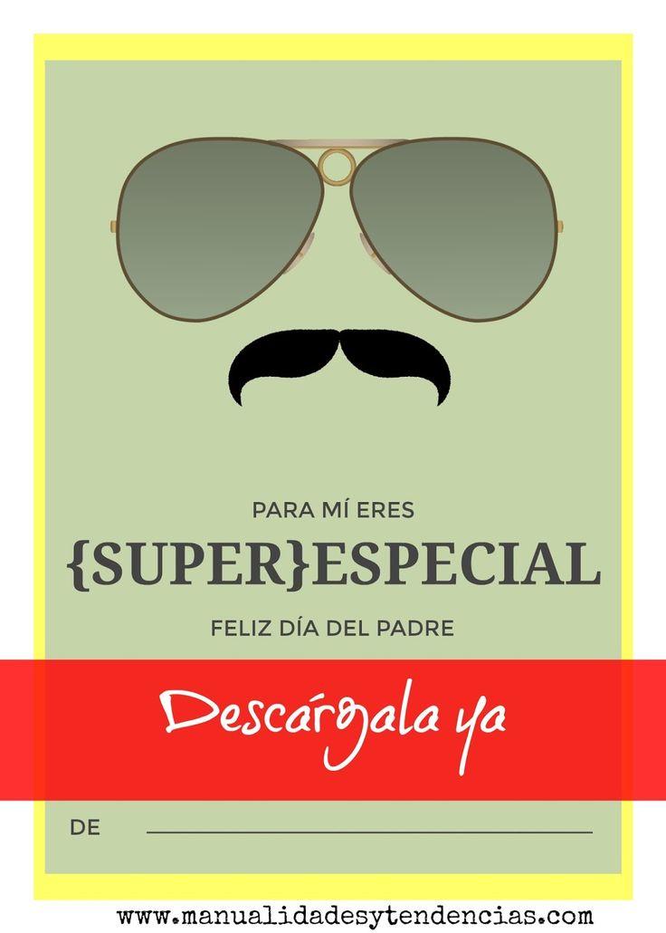 Tarjetas imprimibles modernas para el día del padre www.manualidadesytendencias.com #freebies #día #padre #father's #day #card #tarjeta #felicitación #gratis #imprimible