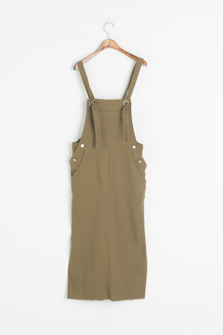 Pocket Detail Long Dungaree Dress, Khaki, 100% Cotton