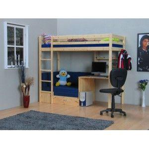 Gezien op Beslist.nl: Flip multifunctionele hoogslaper met blauwe kussens