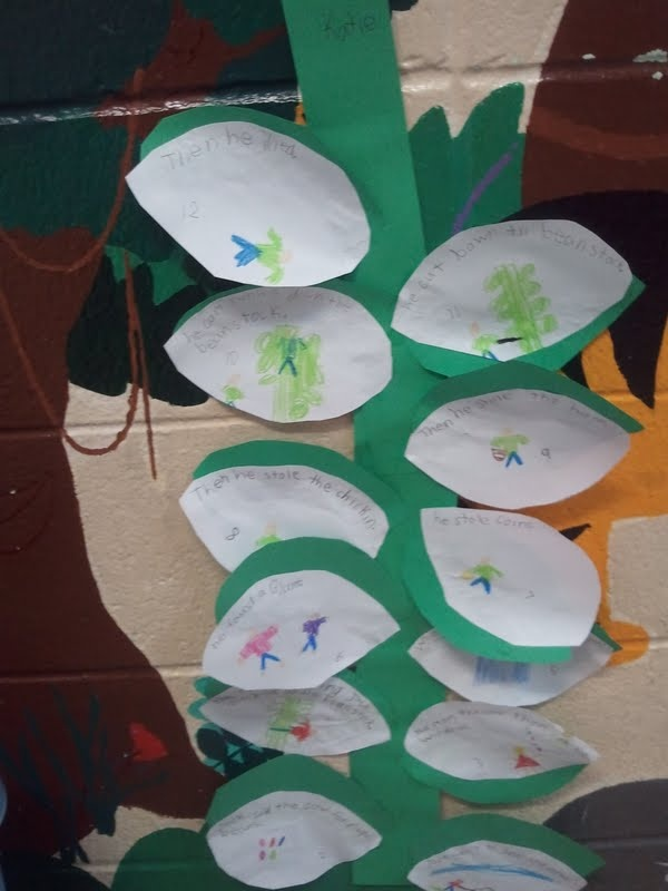 """We created our bean stalk to retell the story """"Jack and the Bean Stalk"""".  They used transition words and put the story in order of events."""