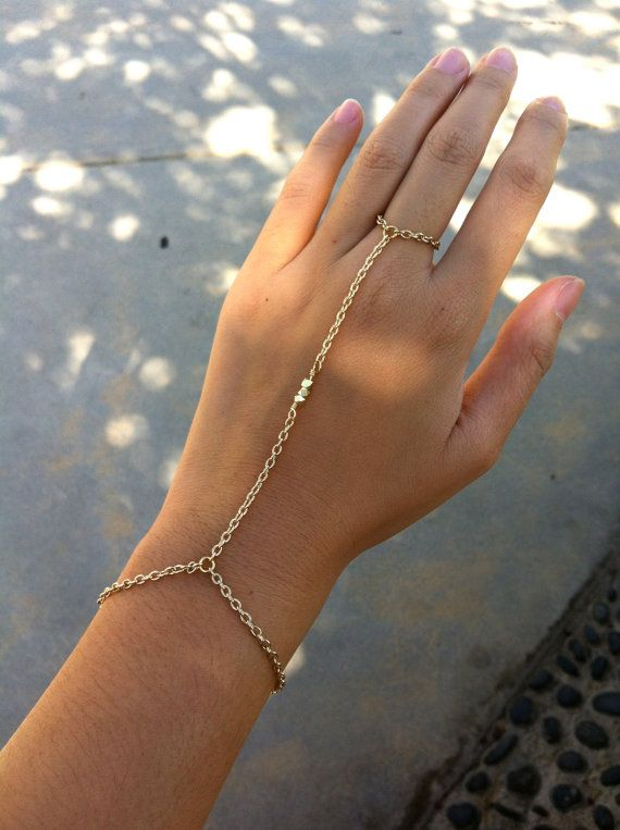 14K Shiny Gold 3 Nugget Bead Hand Chain Bracelet by hungryeyes, $16.00