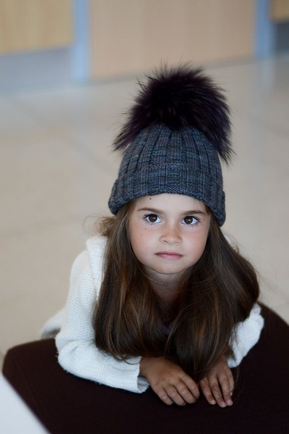 Kids Knit Beanie in Grey, Cable Knit Girls Winter Hat with Fur Pom, Toddler Fur Pom Pom Hat - Fall and winter hat on Etsy, $51.50