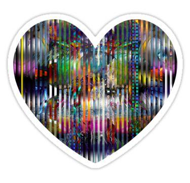 Striped Heart Sticker by StickerNuts
