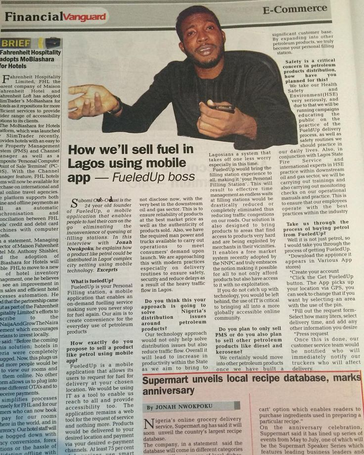 Many thanks to Vanguard Newspaper for this interview. Full Interview can be read on their website. #FueledUp by _fueledup