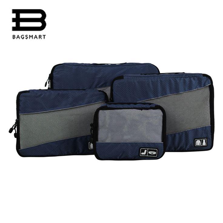 BAGSMART 4 Pz Nylon Impermeabile Imballaggio Cubi Bagagli Imballaggio Organizzatore Per Viaggiare Per Camicie Pantaloni Rendere Il Vostro Suitcasse Ordinare