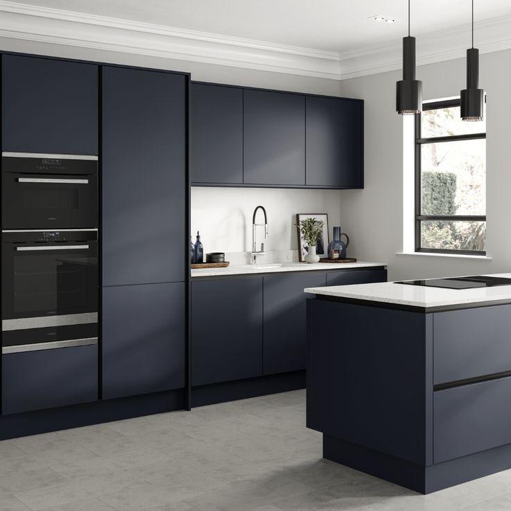 hockley super matt navy handleless kitchen in 2020