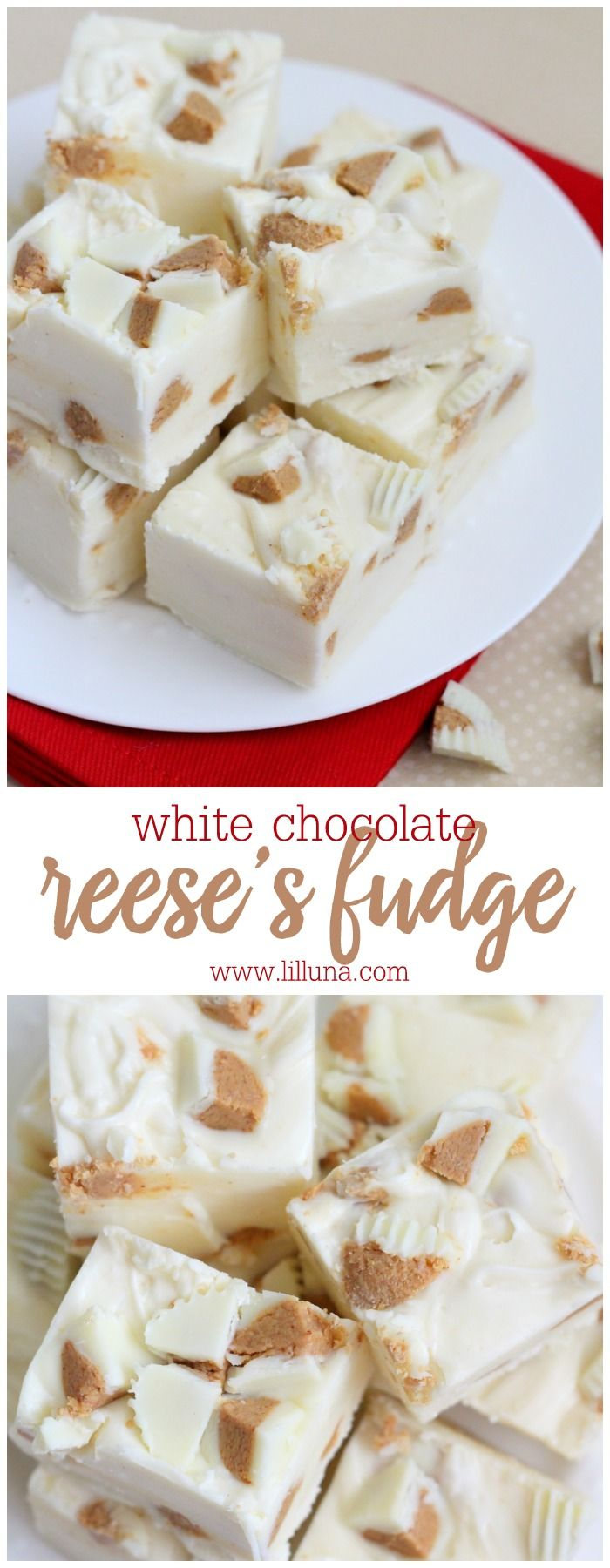 White Chocolate Reeses Fudge - so easy and delicious!! You'd never guess fudge was so simple.