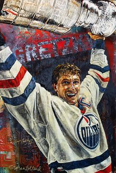 "Stephen Holland ""Wayne Gretzky-Edmonton Oilers"" Original Artwork"