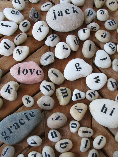 using transfer letters to make alphabet stones....what to do with all those letters I don't want to use for scrapbooking