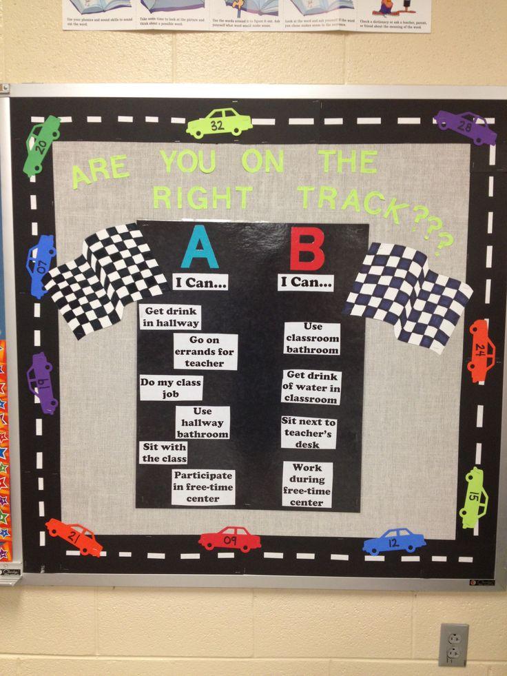 Behavior bulletin board racing theme future teacher of